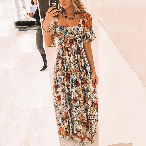 Vacation Flower Printed Maxi Dress