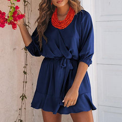 V Neck Lace-Up Casual 1/2 Sleeve Dress