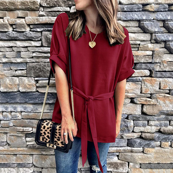 Plus Size Round Neck Lace-Up Blouse