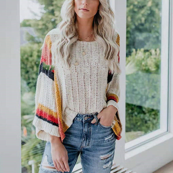 Fashion Loose Long Sleeve Openwork Sweater