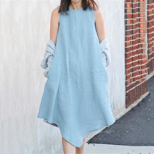 Simple Solid Color Irregular Dress