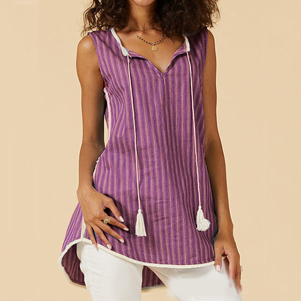 Casual Women Striped V-Neck Blouse