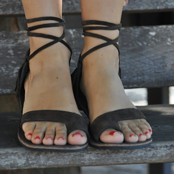 Simple Cross Strap Lace-Up Sandals