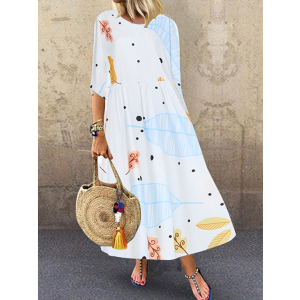 Women Printed Round Neck 1/2 Sleeve Maxi Dresses