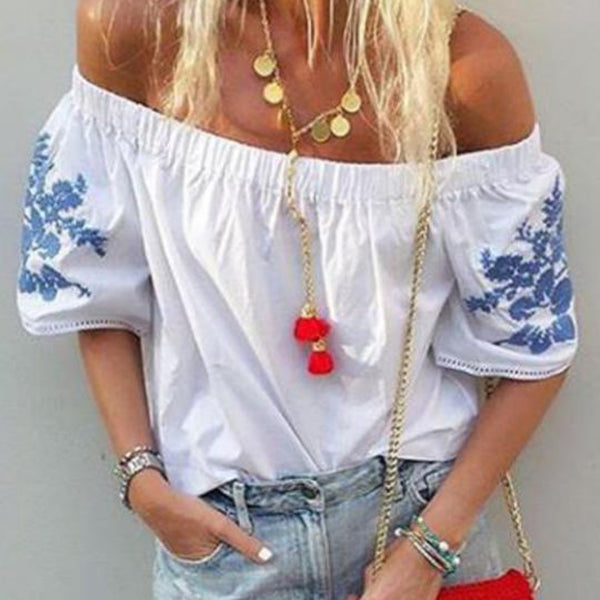 Bohemian Printed Off-The-Shoulder Blouse