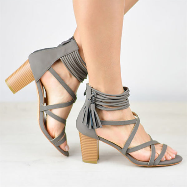 Cross Strap Tassel High Heel Sandals