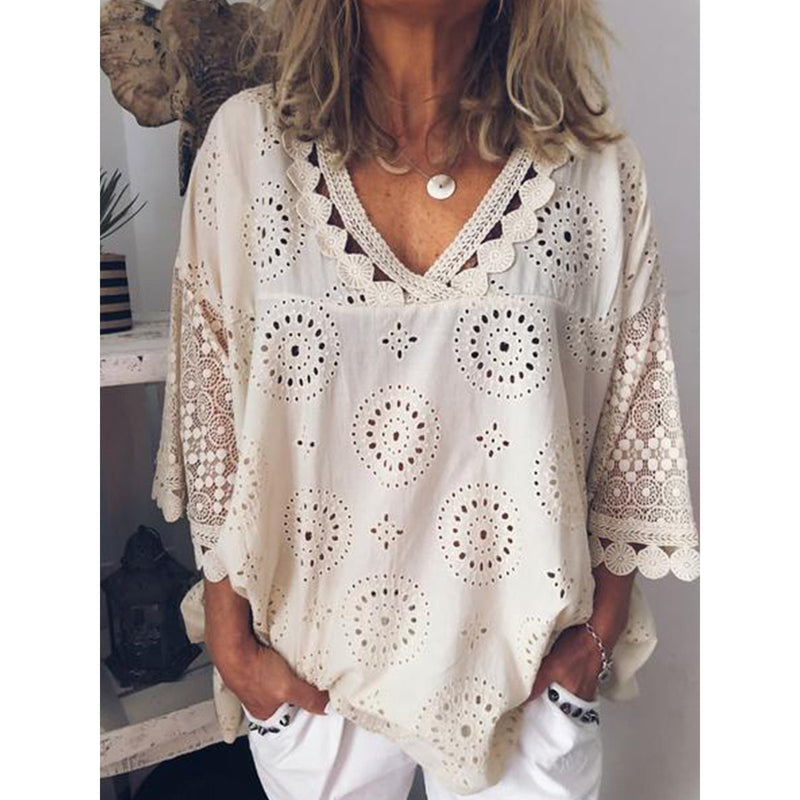 Plus Size Summer Women Cutout Blouse T Shirt Tunic Top