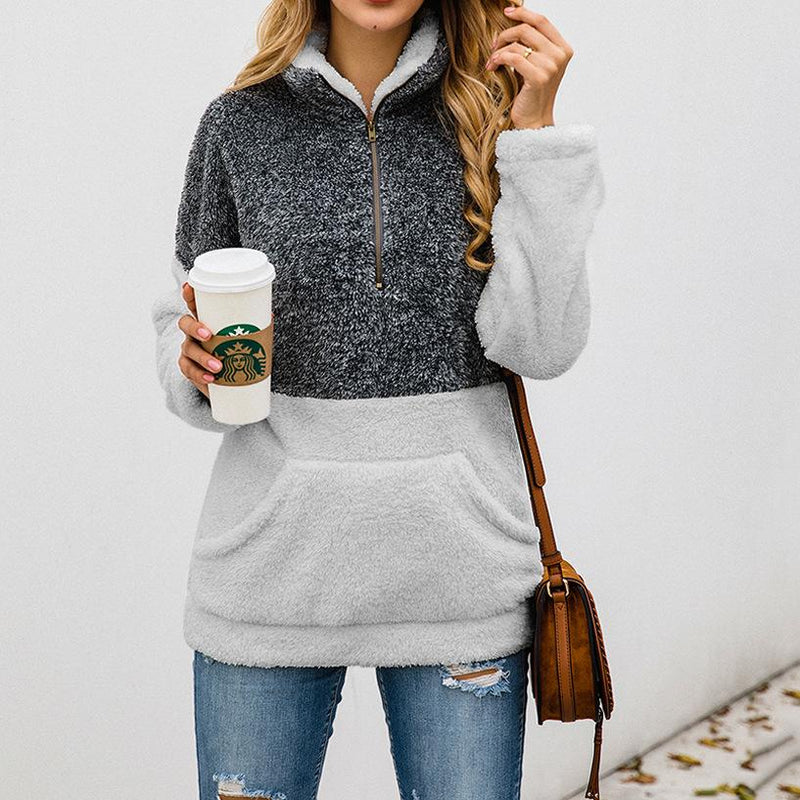 Zipper Pocket High Neck Sweatshirt