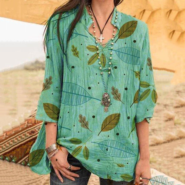 Casual Printed V-Neck Blouse