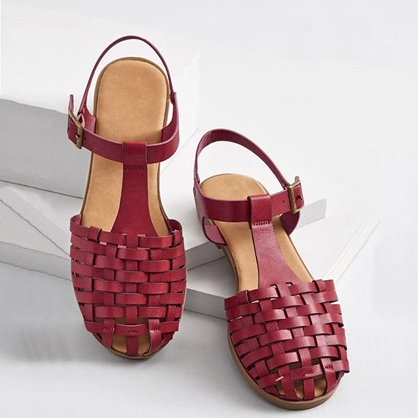Buckle Strap Woven Holiday Sandals