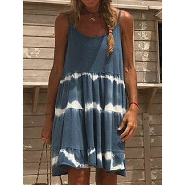 Crew Neck Women Dresses Shift Daily Boho Cotton-Blend Dresses