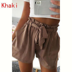 Summer High Waist Casual Self-Tie Shorts Beach Short Pants