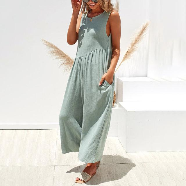 Crew Neck Sleeveless Solid Bohemian Jumpsuits