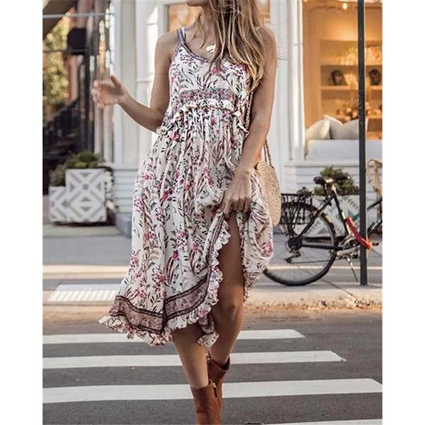 Fashion Printed O-Neck Sleeveless Dress