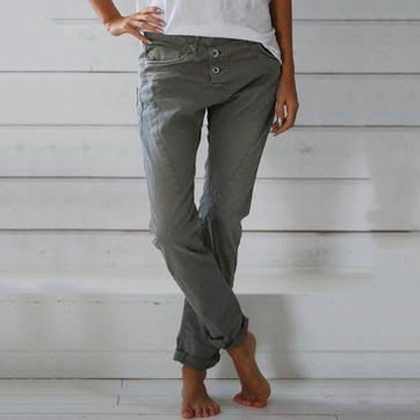 Plus Size Solid Color Casual Pants
