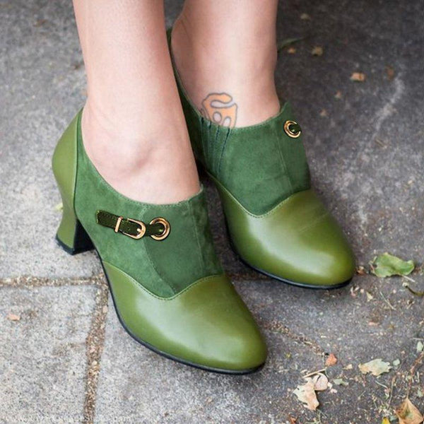 Vintage Zipper Solid Ankle Boots