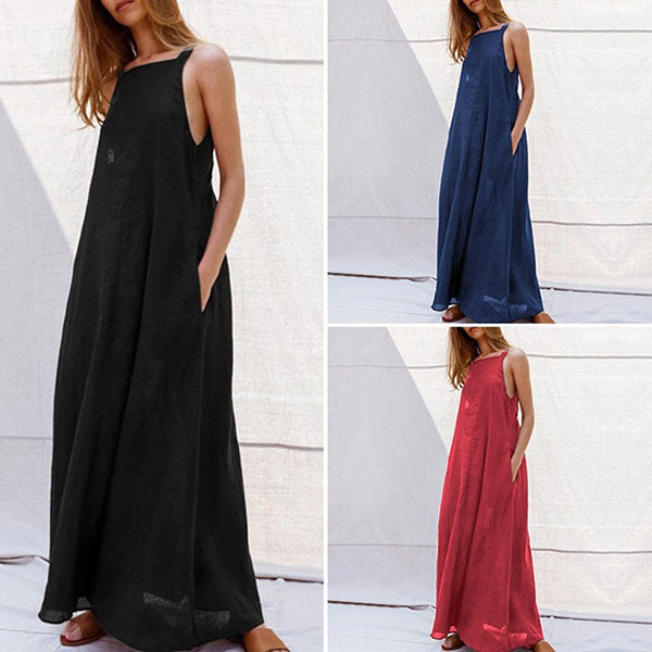 Solid Color Sleeveless Maxi Dress