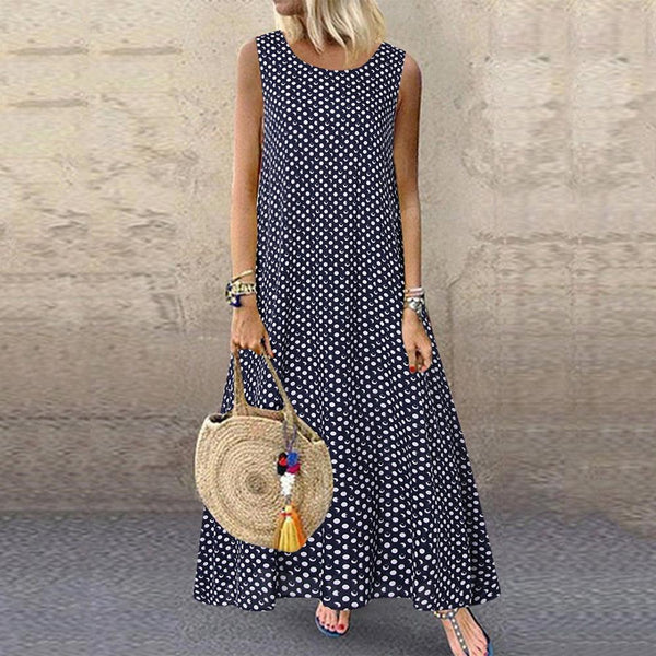 Casual Polka Dot Print Sleeveless Dresses