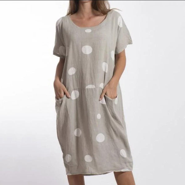 Round Neck Polka Dot Dress