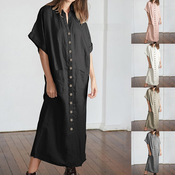 V Neck Pocket Button Loose Maxi Dress
