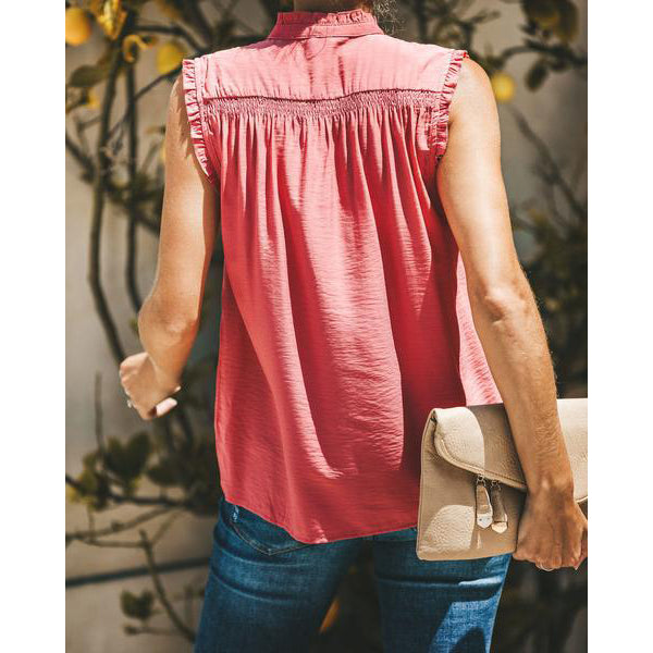 Fashion Comfortable V Neck Sleeveless Blouse
