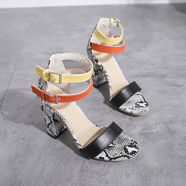 Simple Snake Printed High Heel Sandals