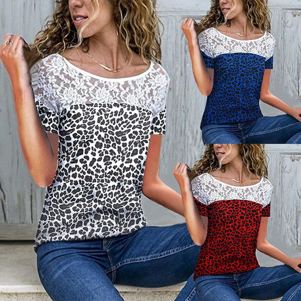 Casual Fashion Leopard Lace Blouse
