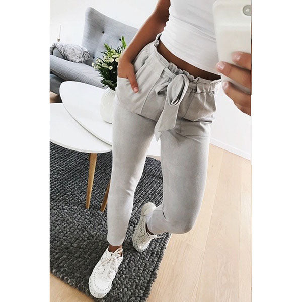 Plus Size Lace-Up Casual Pants