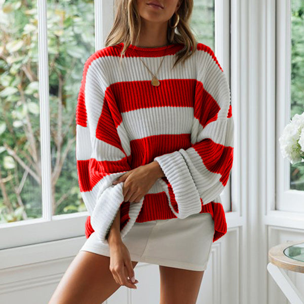 Casual Round Neck Striped Holiday Sweaters