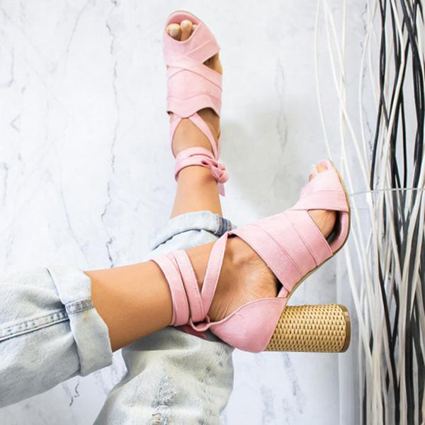 Fish Toe High Heel Lace-Up Sandals
