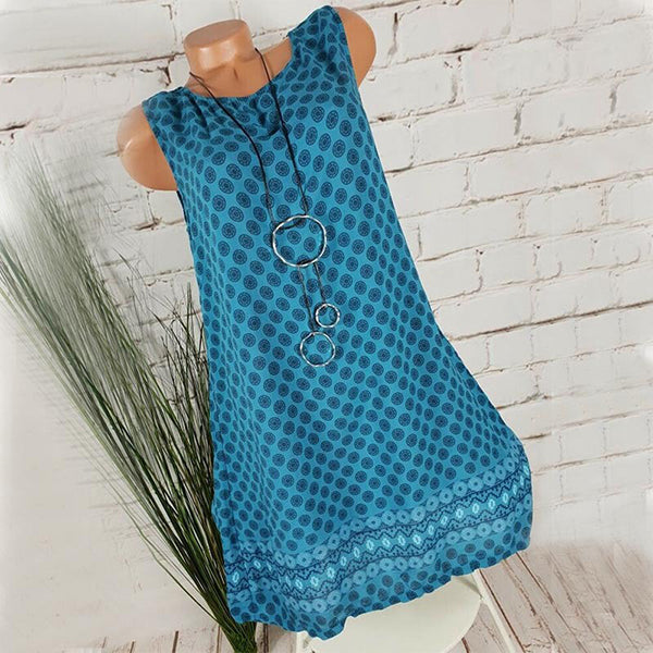 Plus Size Polka Dot Sleeveless Loose Dress