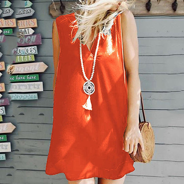 Plus Size Loose Sleeveless V Neck Dress