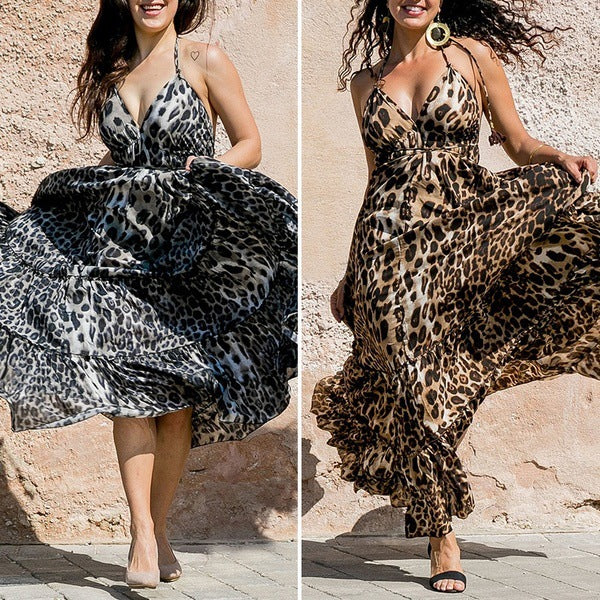 Women Summer Casual V-Neck Spaghetti-Strap Leopard Printed Maxi Dress