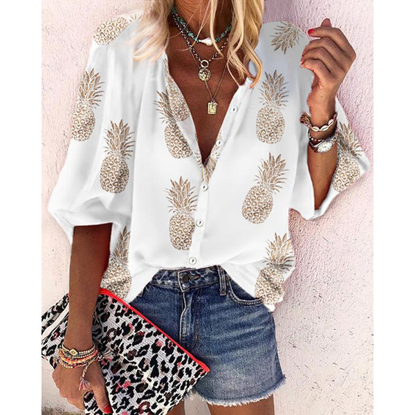 Casual Buttons V-Neck Printed Blouse