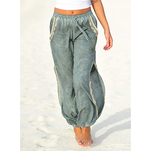 Women Casual Split Pockets Elastic Band Beach Pants