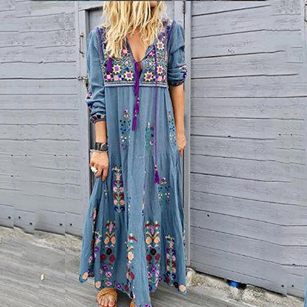 Women's Bohemia V Neck Printed Flower Dress