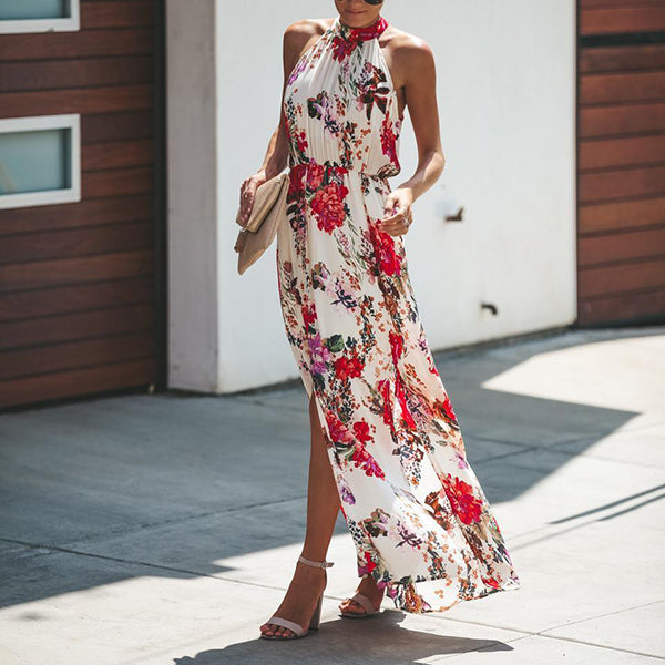 Elegant Halter Neck Printed Maxi Dress