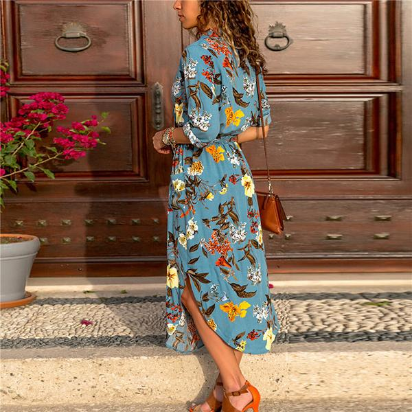 Printed V Neck Casual Long Sleeve Midi Dress