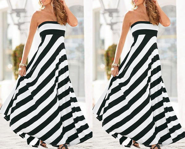 Casual Women Summer Strapless Striped  Elegant Dress