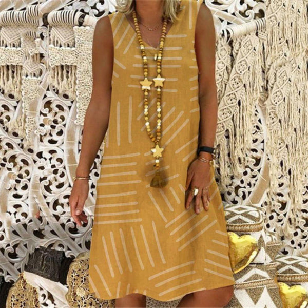 Casual Printed Sleeveless V-neck Dress