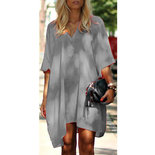 Casual Loose Irregular V Neck Dress