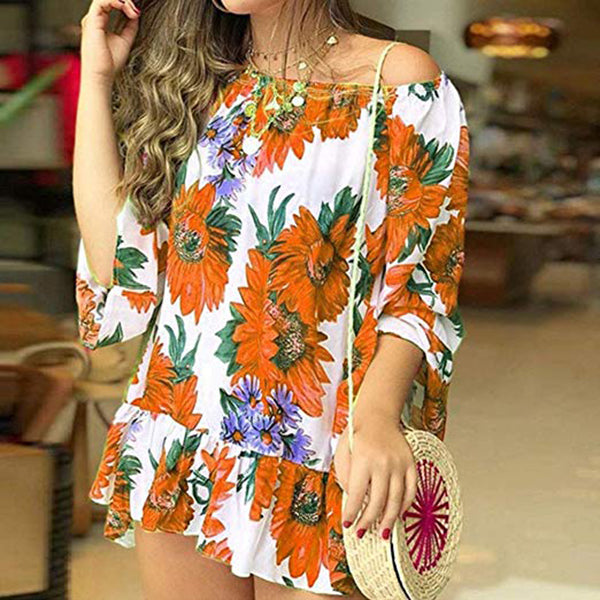 Off The Shoulder Flower Printed Vacation Blouse