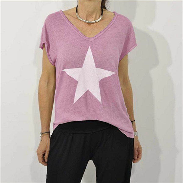 Plus Size V Neck Star Printed Blouse