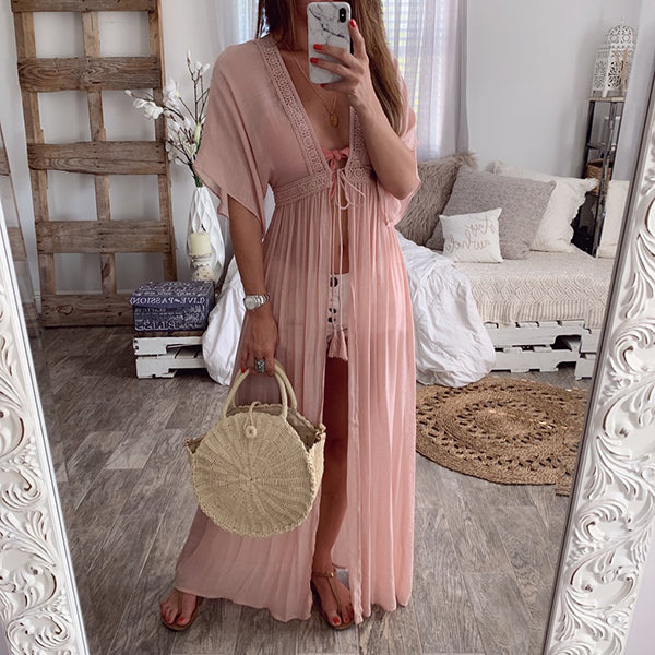 Summer Lace Cardigan Solid Color Holiday Style Dress