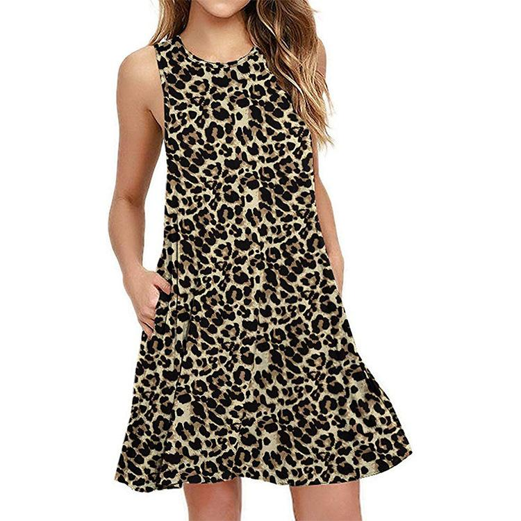 Women Summer Popular Sleeveless Leopard Print Pocket Dress
