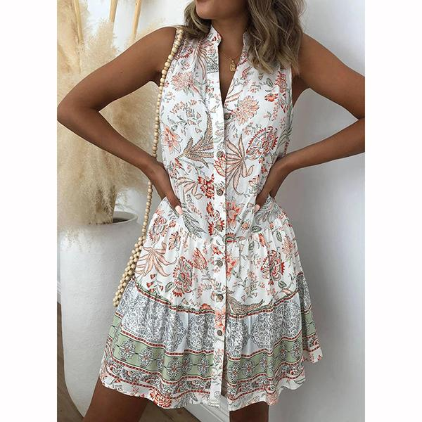 Boho Floral Printed Sleeveless Above Knee Vacation Dresses