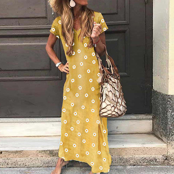 V-neck Short Sleeve Daisy Print Casual Long Dress