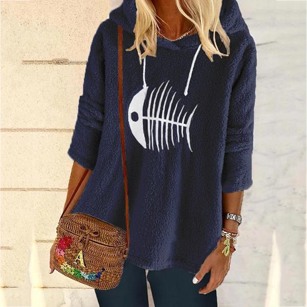 Women's Long Sleeve Printed Shift Casual Hooded Tops
