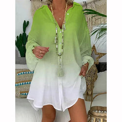 Holiday Turn-down Collar Long Sleeve Buttoned Blouse