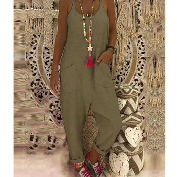 Women Summer Solid Color Sleeveless Jumpsuits